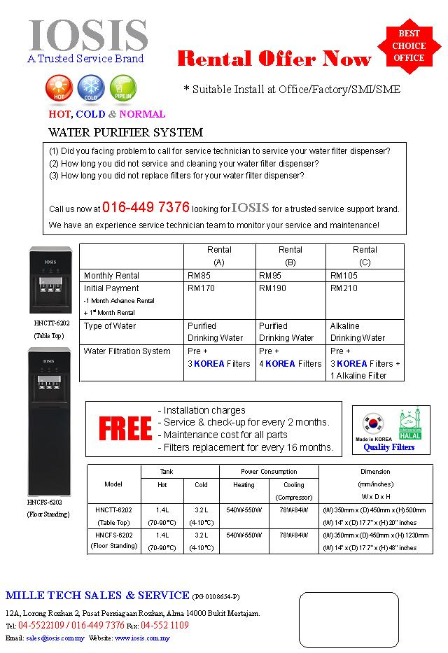 Rental Offer For Hot Normal Amp Cold Water Purifier System
